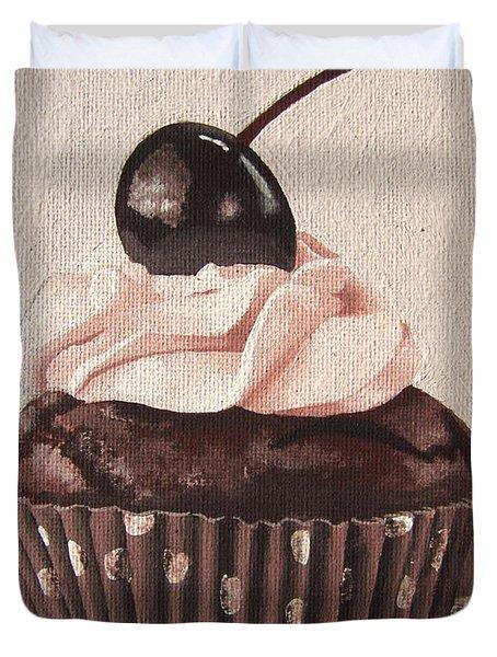 Chocolate Cherry Cupcake Duvet Cover by Kayleigh Semeniuk