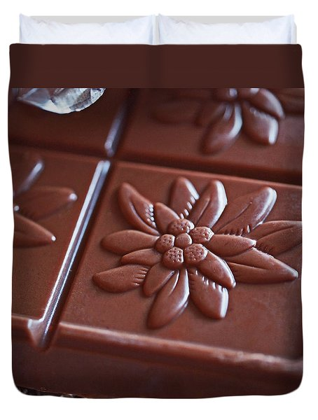 Chocolate Flower  Duvet Cover by Rona Black