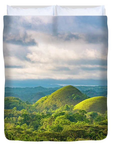 Chocolate Hills In Late Afternoon Duvet Cover