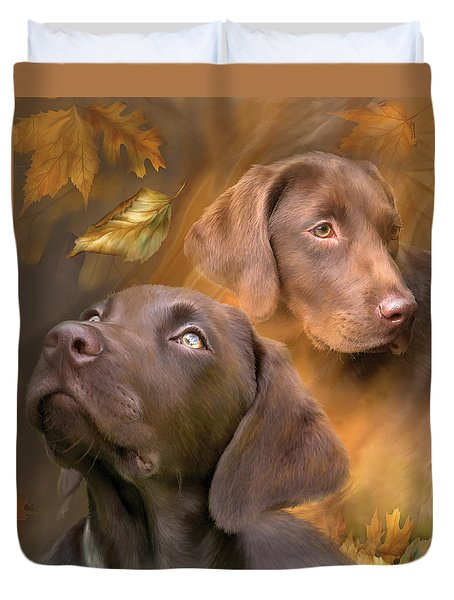 Duvet Cover featuring the mixed media Chocolate Lab by Carol Cavalaris