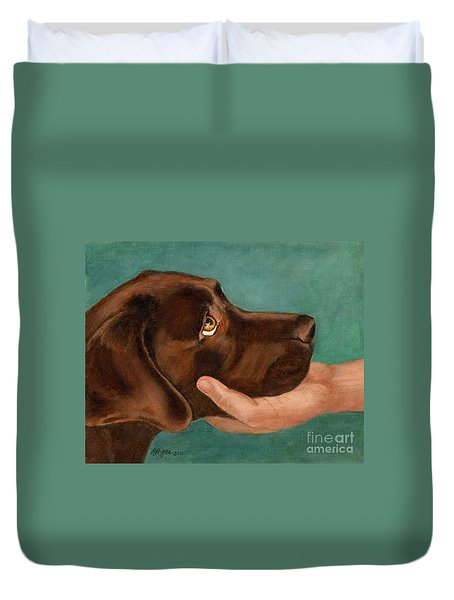 Chocolate Lab Head In Hand Duvet Cover