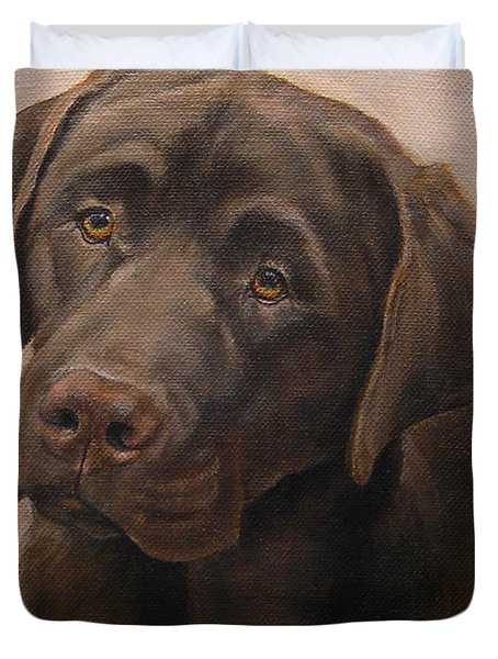 Chocolate Labrador Retriever Portrait Duvet Cover by Amy Reges