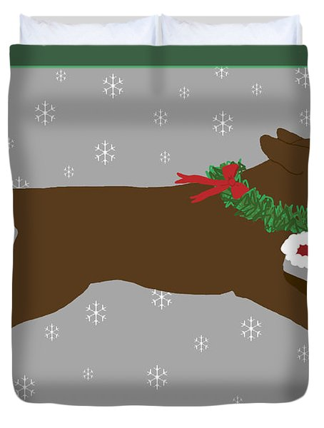 Chocolate Labrador Steals Santa's Hat Duvet Cover
