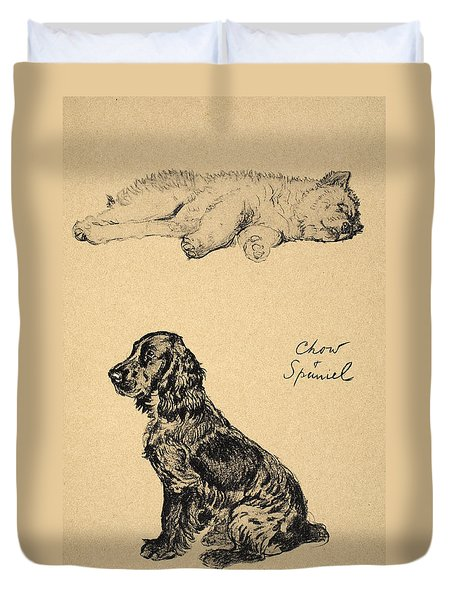 Chow And Spaniel, 1930, Illustrations Duvet Cover by Cecil Charles Windsor Aldin