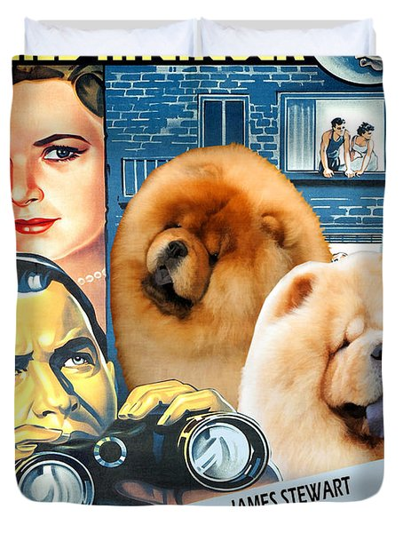 Chow Chow Art Canvas Print - Rear Window Movie Poster Duvet Cover