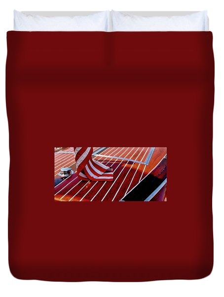 Chris Craft With American Flag Duvet Cover