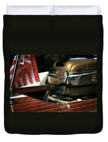 Chris Craft With Johnson Motor Duvet Cover by Michelle Calkins