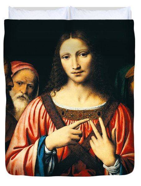 Christ Among The Doctors Duvet Cover by Bernardino Luini