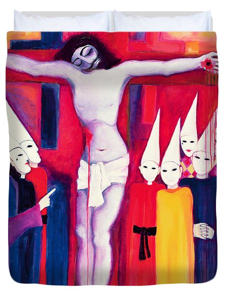 Christ And The Politicians, 2000 Acrylic On Canvas Duvet Cover