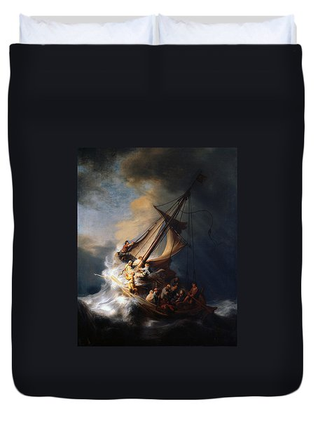Christ And The Storm Duvet Cover