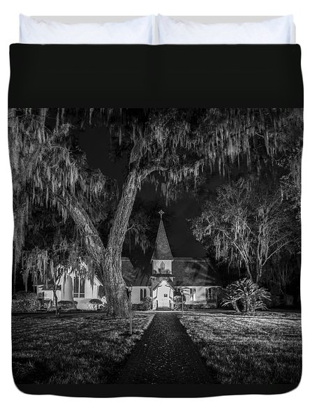 Christ Church Bw Duvet Cover by Debra and Dave Vanderlaan