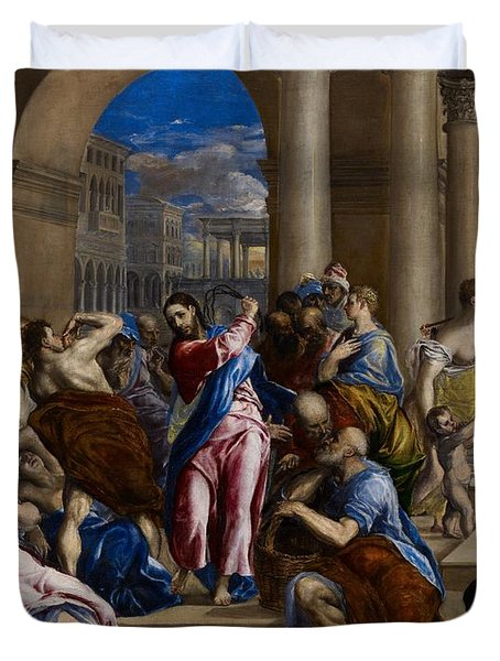 Christ Driving The Money Changers From The Temple Duvet Cover by El Greco