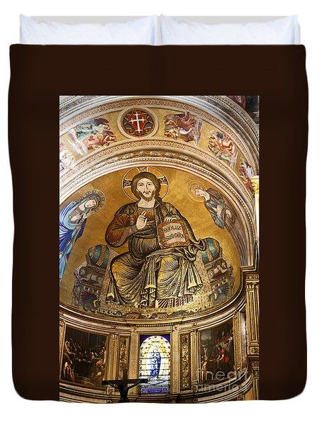 Christ In Majesty  Pisa Duomo Duvet Cover by Liz Leyden