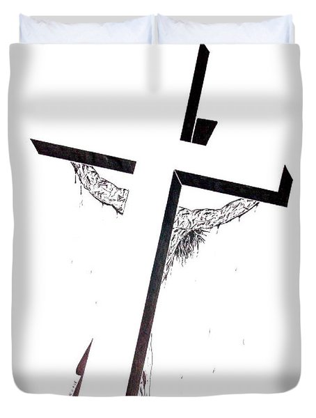 Duvet Cover featuring the drawing Christ On Cross by Justin Moore