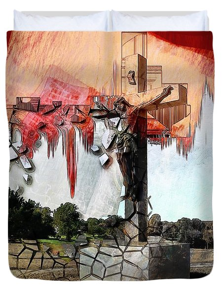Christ On The Cross Duvet Cover by Liane Wright