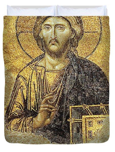 Christ Pantocrator-detail Of Deesis Mosaic Hagia Sophia-judgement Day Duvet Cover