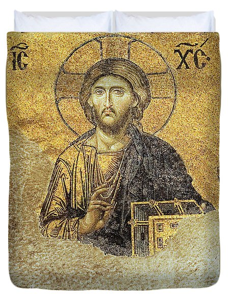 Christ Pantocrator-detail Of Deesis Mosaic Hagia Sophia-judgement Day Duvet Cover