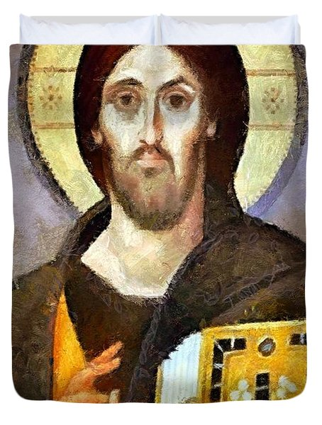 Christ Pantocrator Of Sinai Duvet Cover by Dragica  Micki Fortuna