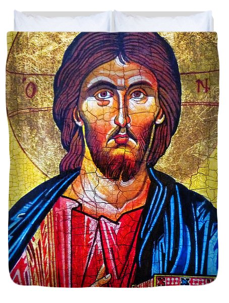 Christ The Pantocrator Icon Duvet Cover by Ryszard Sleczka