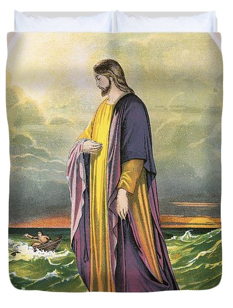 Christ Walking On The Sea Duvet Cover by English School