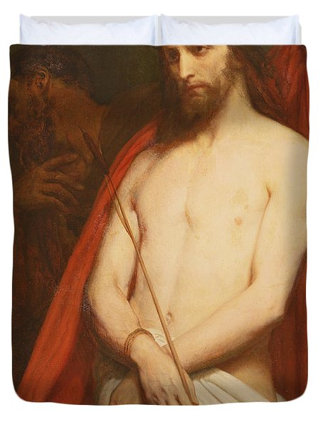 Christ With The Reed Oil On Canvas Duvet Cover