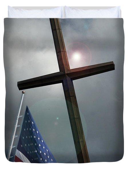 Christian Cross And Us Flag Duvet Cover