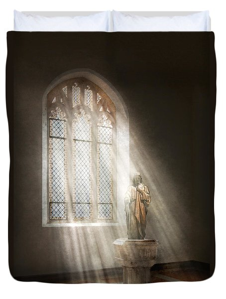 Christian - Heavenly Father Duvet Cover by Mike Savad