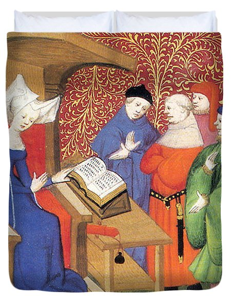 Christine De Pizan Lecturing To Men Duvet Cover by Photo Researchers