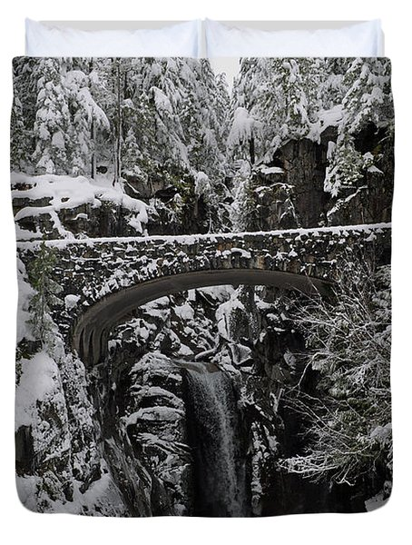 Duvet Cover featuring the photograph Christine Falls In The Winter by Tikvah's Hope