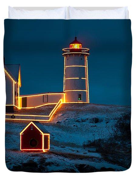 Christmas At Nubble Light Duvet Cover