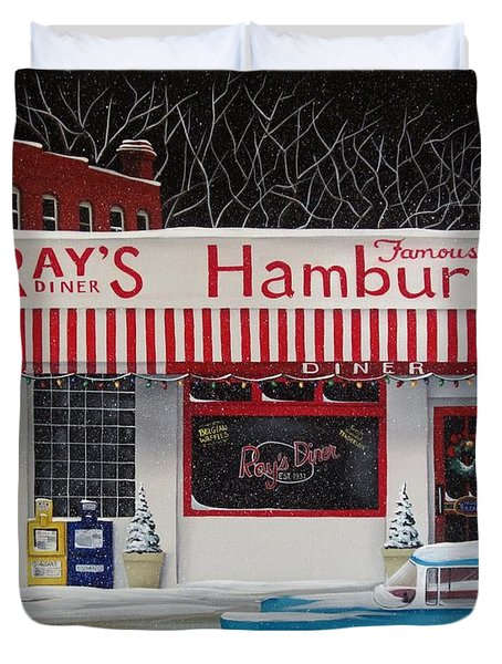 Christmas At Ray's Diner Duvet Cover