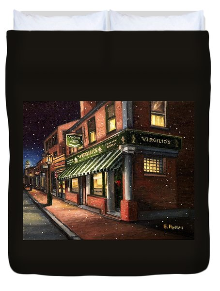 Christmas At Virgilios Duvet Cover by Eileen Patten Oliver