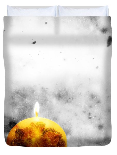 Christmas Ball Candle Lights On Winter Background Duvet Cover