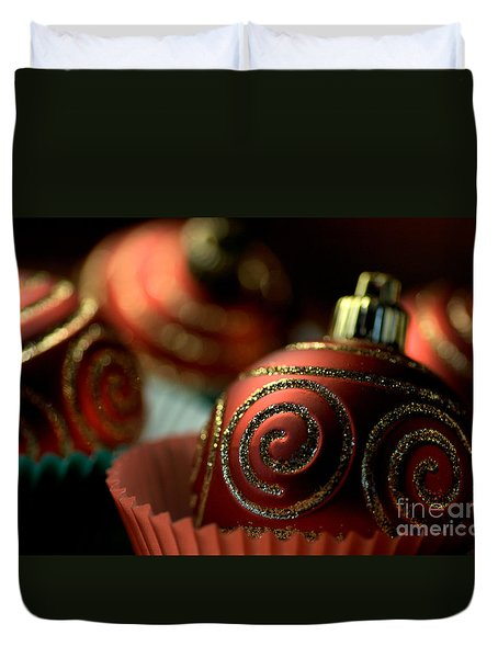 Christmas Bauble Cupcakes Duvet Cover by Joy Watson