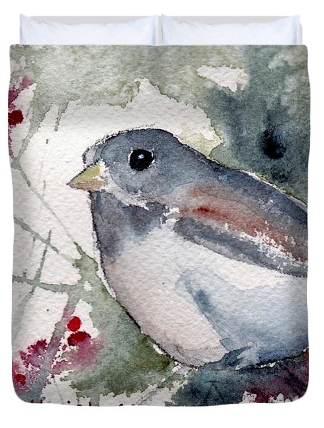 Duvet Cover featuring the painting Christmas Birds 01 by Anne Duke