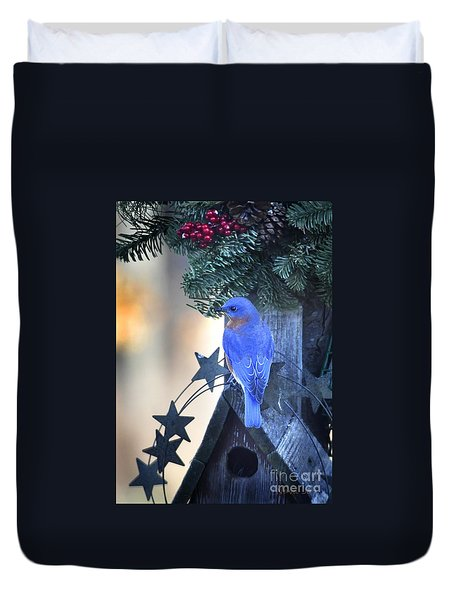 Christmas Bluebird Duvet Cover