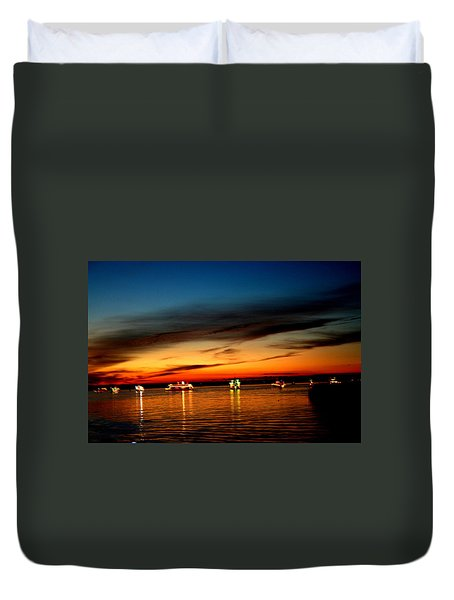 Christmas Boat Parade - Delta Loop Duvet Cover