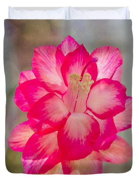Duvet Cover featuring the photograph Christmas Cactus Bokeh by Jemmy Archer