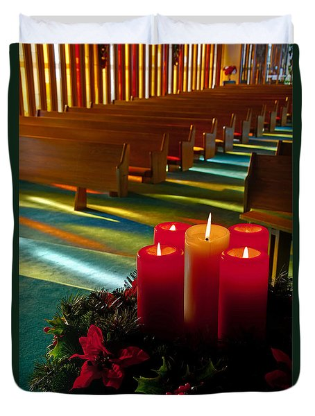 Duvet Cover featuring the photograph Christmas Candles At Church Art Prints by Valerie Garner