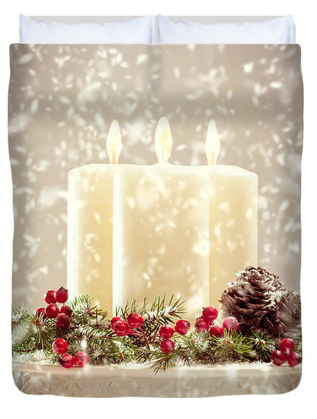 Christmas Candles Duvet Cover by Amanda Elwell