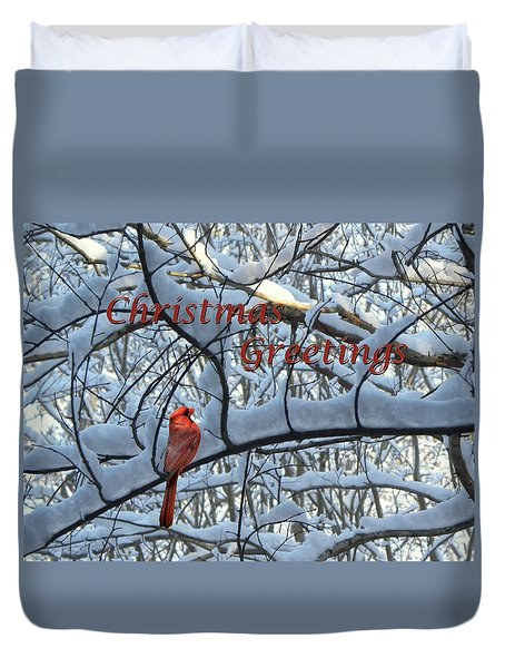 Duvet Cover featuring the photograph Christmas Card - Christmas Greeting by Larry Bishop