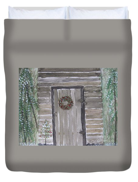 Christmas Card No.3 Rustic Cabin Duvet Cover