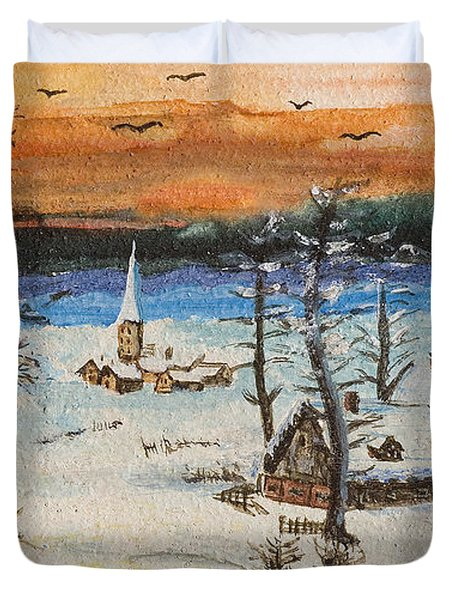 Christmas Card Painting Duvet Cover