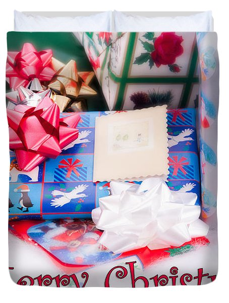 Duvet Cover featuring the photograph Christmas Presents On Artificial Snow by Vizual Studio