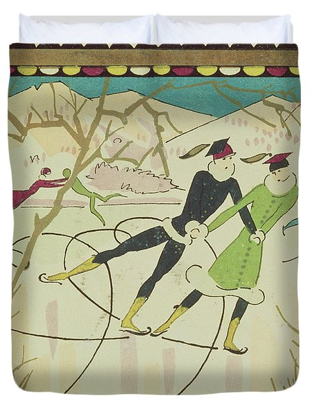 Christmas Card With Figure Skaters Duvet Cover