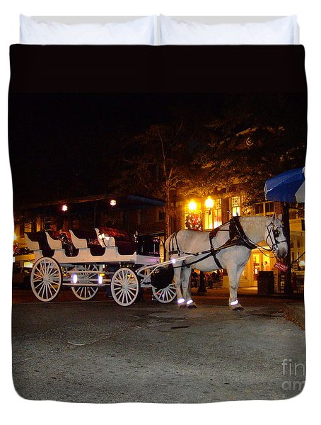 Christmas Carriage Duvet Cover by Bob Sample