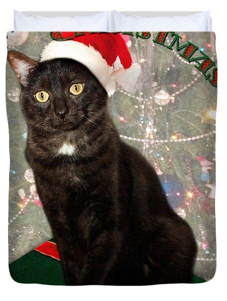 Christmas Cat Duvet Cover by Adam Romanowicz