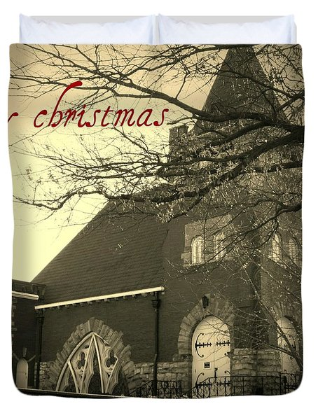 Christmas Chapel Duvet Cover by Chris Berry