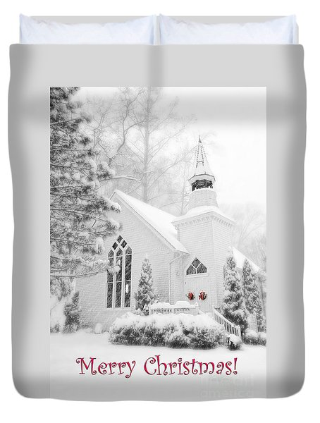 Historic Church Oella Maryland - Christmas Card Duvet Cover