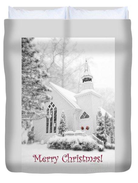 Historic Church Oella Maryland - Christmas Card Duvet Cover by Vizual Studio